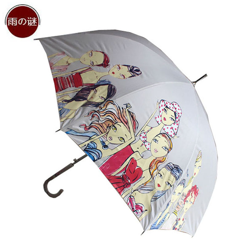 There are mystery rain modern girl graffiti automatic opening umbrella long umbrella parasol umbrella windproof umbrella