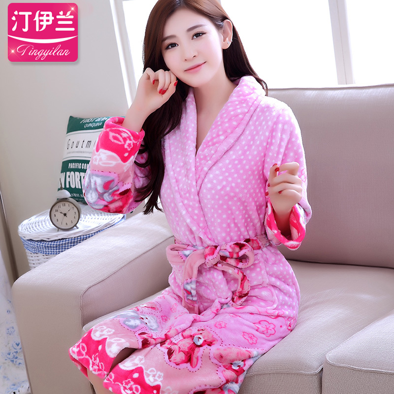 ff3ecd59bc Buy Winter flannel nightgown female cartoon couple towels bathrobe pajamas  men thick coral velvet tracksuit large size women in Cheap Price on  Alibaba.com