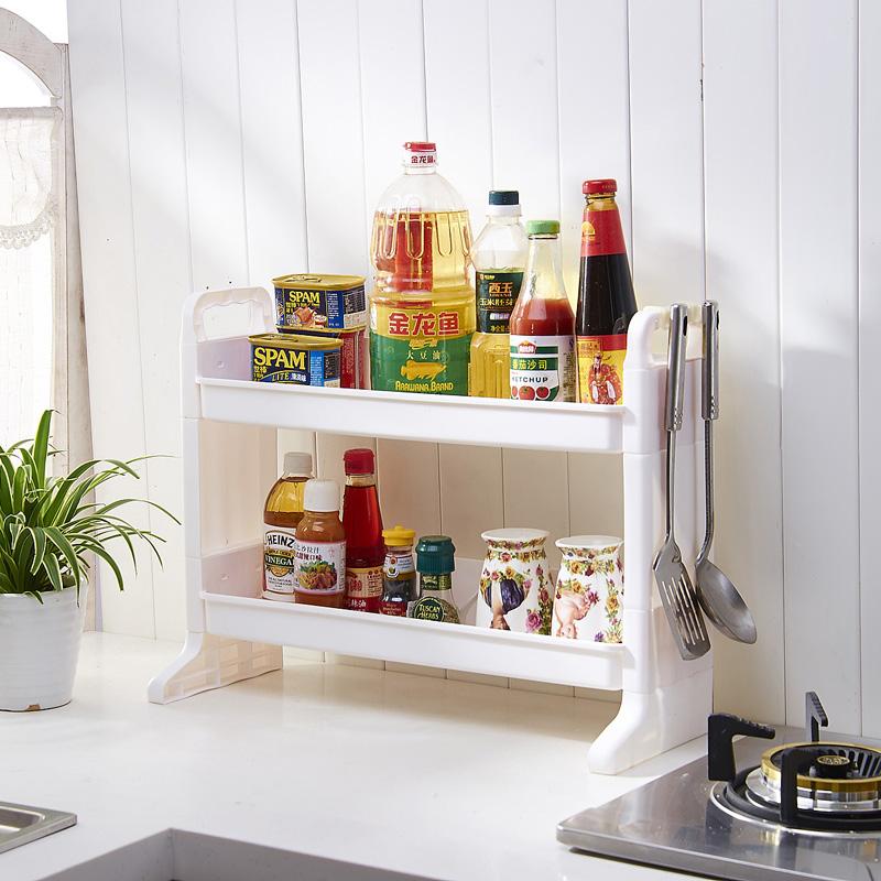 get quotations thick plastic kitchen shelving storage rack seasoning rack kitchen spice rack double shelf storage rack shelf