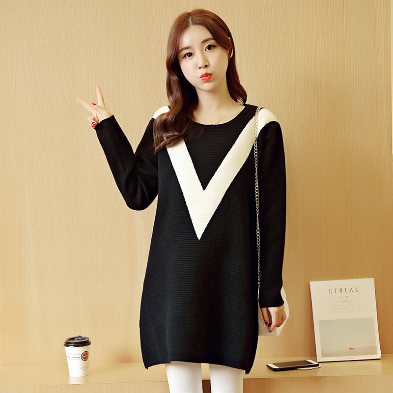 Get Quotations · Thick warm winter coat pregnant women fall and winter sweater turtleneck sweater bottoming shirt and long