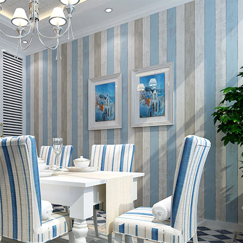Thicker adhesive stickers wallpaper wood mediterranean style striped wallpaper backdrop living room bedroom wovens