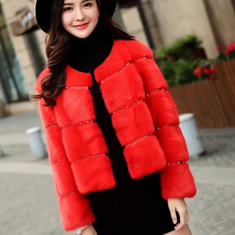 This figure 2015 winter new warren same paragraph imported mink fur coat mink coat mink female short paragraph rivets