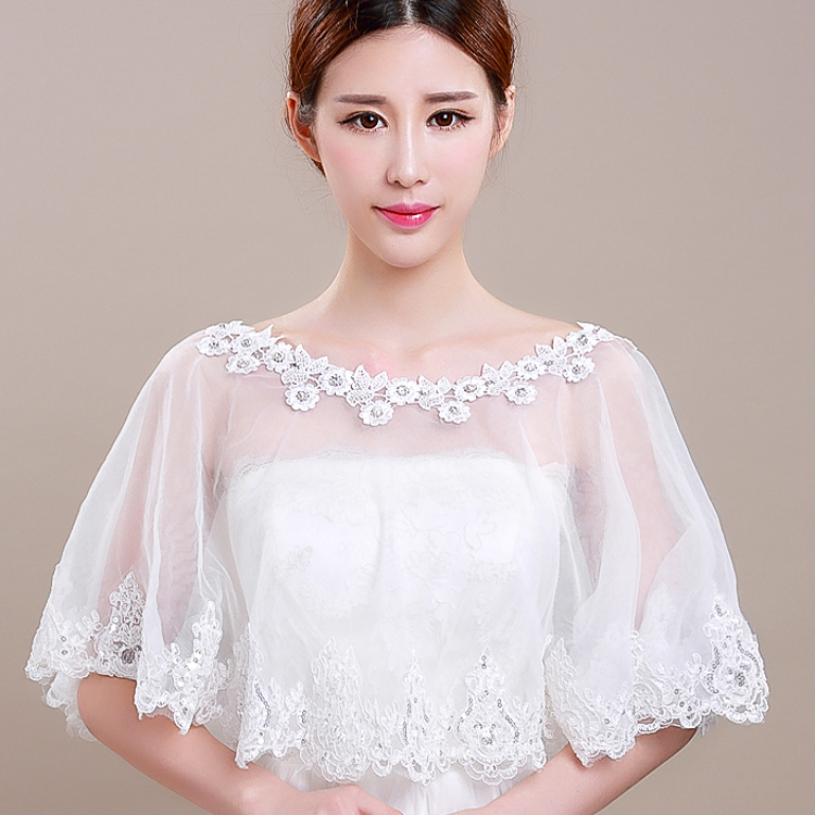 Thousands of colors bridal dream sea yarn shawl cloak korean lace spring and summer thin section of white wedding dress wedding accessories