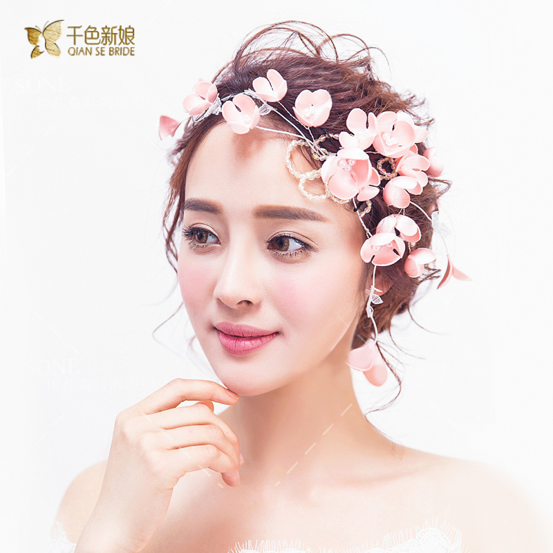 Thousands of colors the bride hundred dutch korean handmade flowers pink flower head flower bridal wedding jewelry bridal headdress hair accessories hairpin