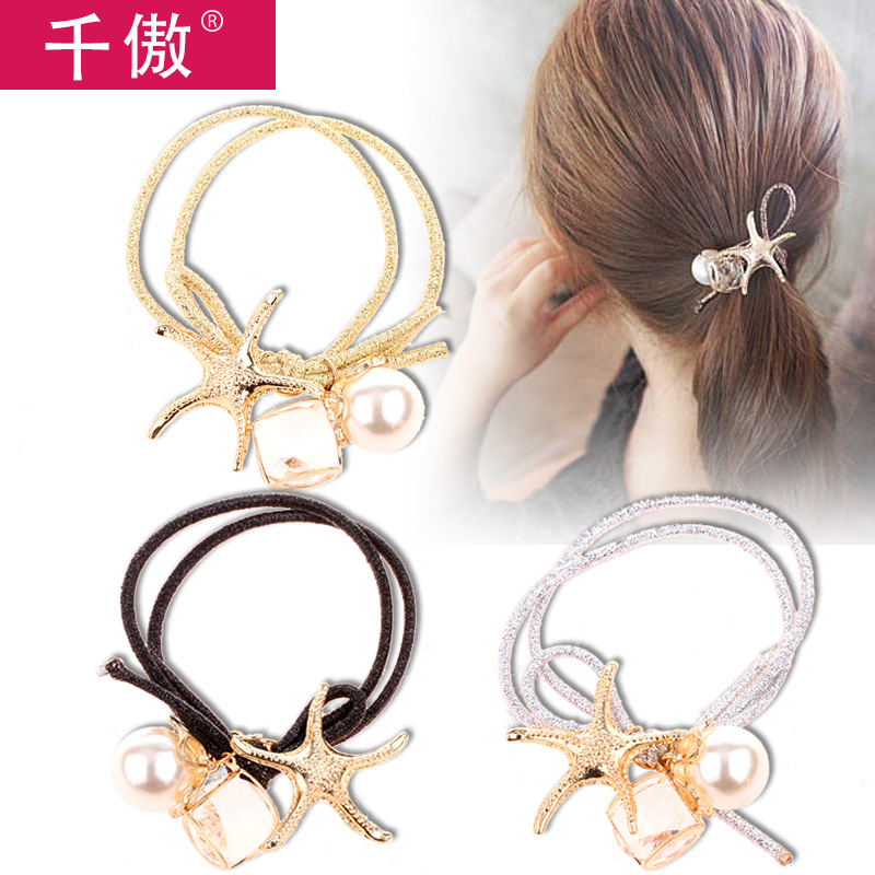 Thousands of united states a quarter-28 korean hair jewelry sweet pearl starfish metal double strand knotted hair ring hair rope rubber band tousheng