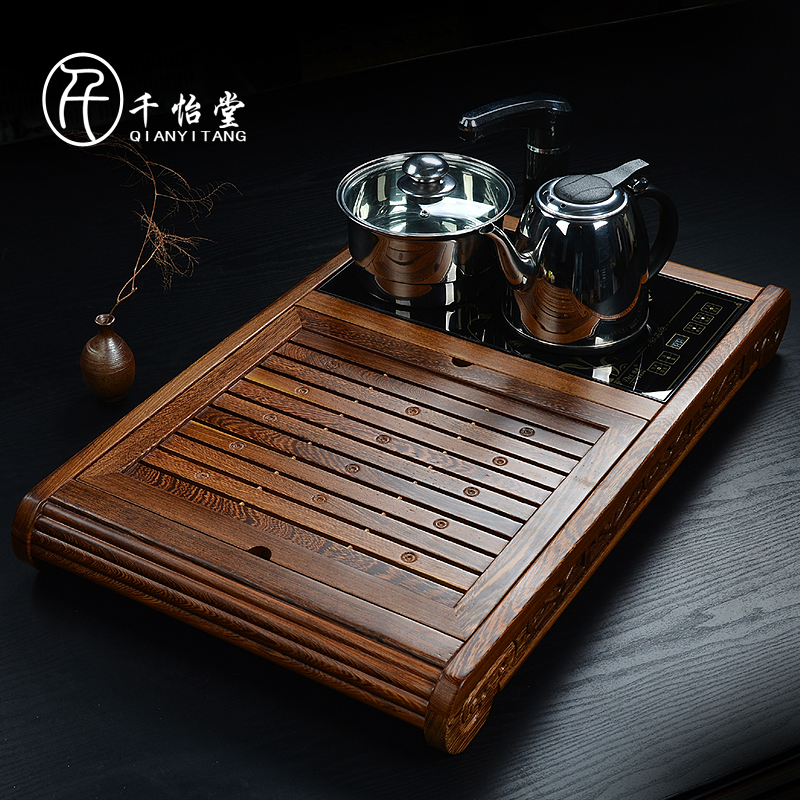 Thousands yi hall wenge wood tea tray large piece of solid wood tea sea tea sets tea tray cooker four specials