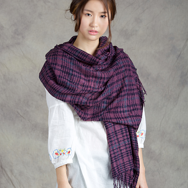 Three cats korean version of the influx of winter ms. korean long plaid scarf shawl dual female autumn and winter days wool scarf