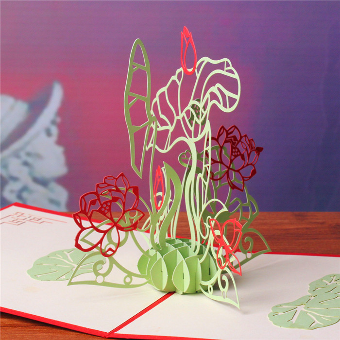 Three-dimensional lotus creative diy handmade three-dimensional paper sculpture greeting cards birthday greeting card business new year spring festival gifts