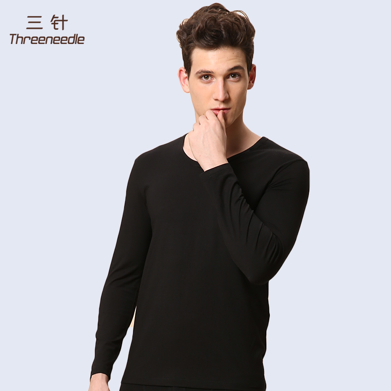 Three needle ribbed male underwear modal round neck thermal underwear thin section basis underwear solid color suit qiuyiqiuku