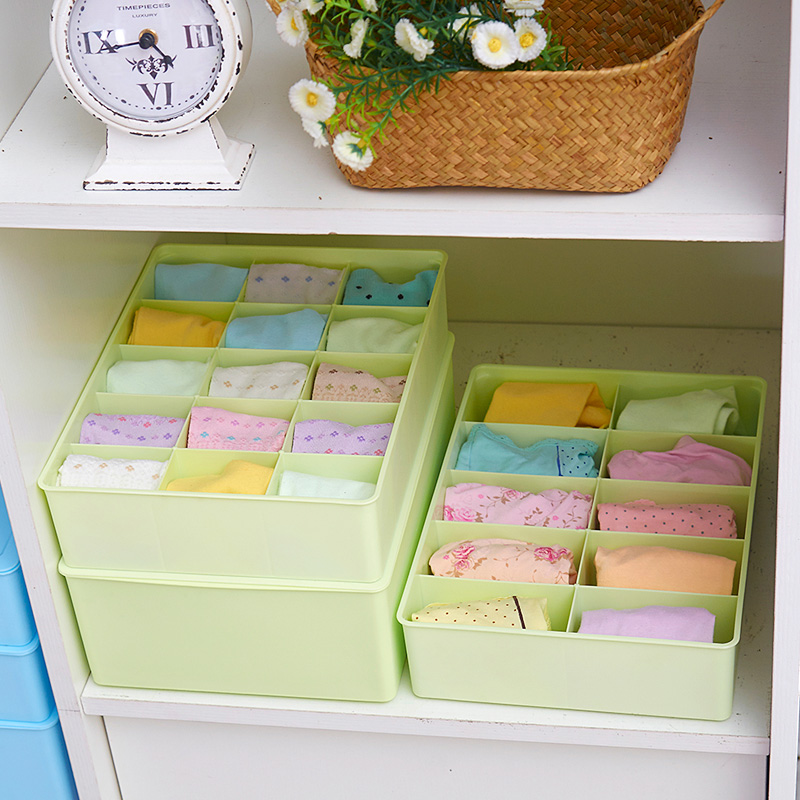 Three plastic underwear storage box three sets of household grid bra underwear socks storage drawer storage box