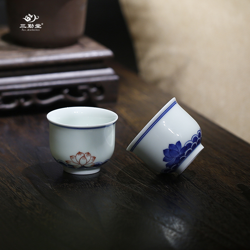 Three qin tang ceramic tea cup small cup of jingdezhen blue and white porcelain tea kung fu tea aroma cup valentine's day gift matter