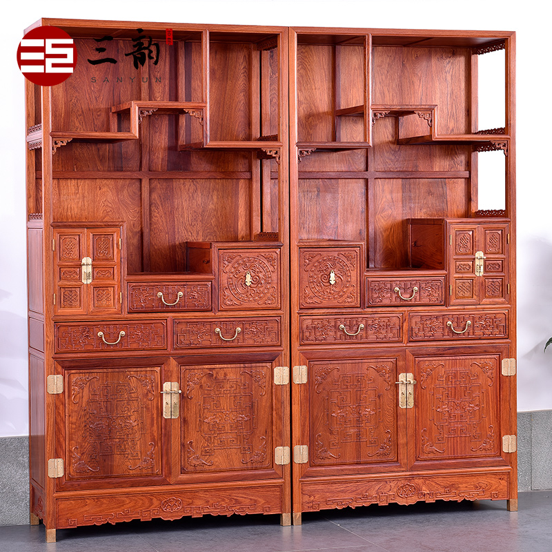 Three rhyme classical mahogany furniture burmese rosewood mahogany antique wood bookcase shelf bookcase 1