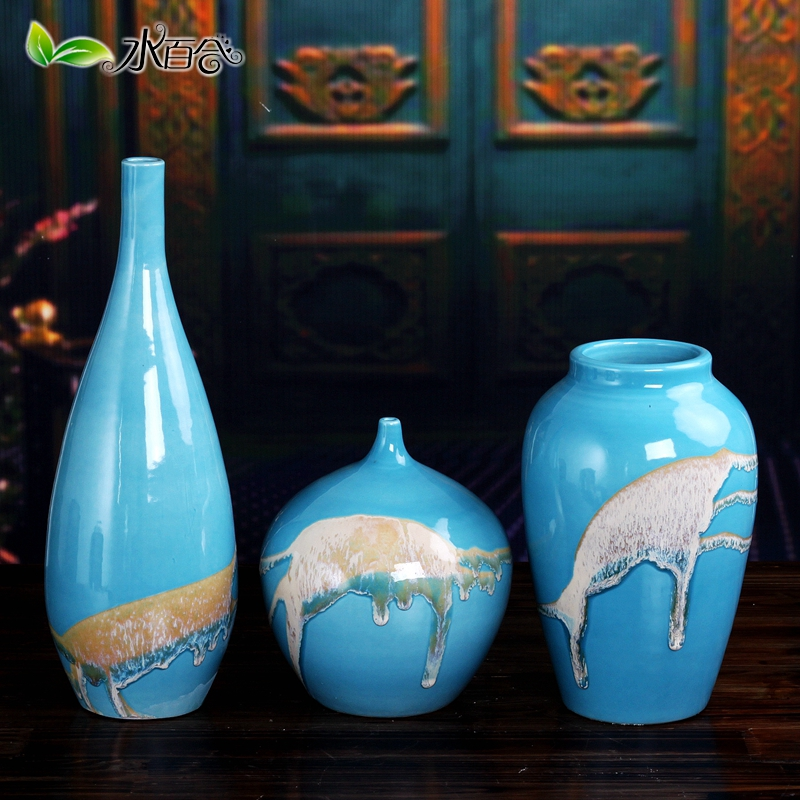 Three sets of creative modern jingdezhen ceramic vase ornaments minimalist living room tv wine entrance countertops decoration