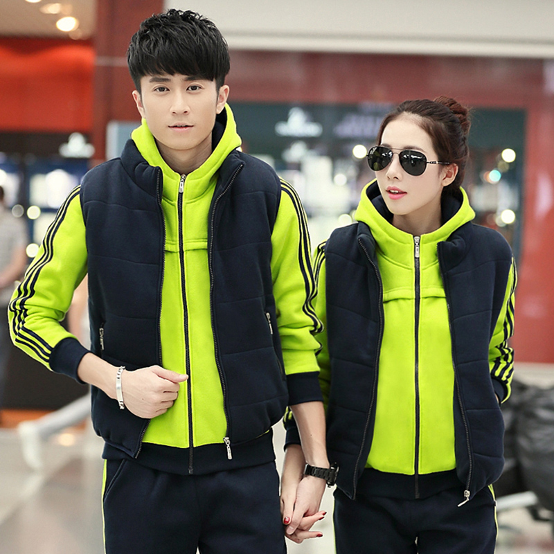 Three sets of fashion for men and women couple plus velvet hooded cardigan sports suit spring fall and winter sportswear size code