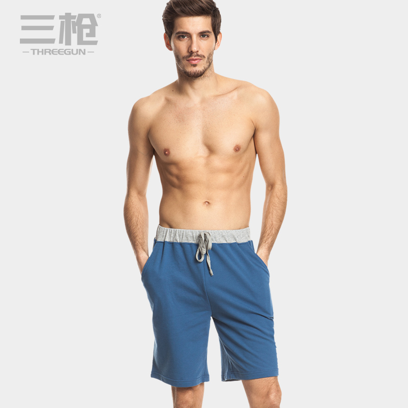 Three shots pajama shorts male summer cotton solid color fashion casual printing men's casual pants pajama pants at home