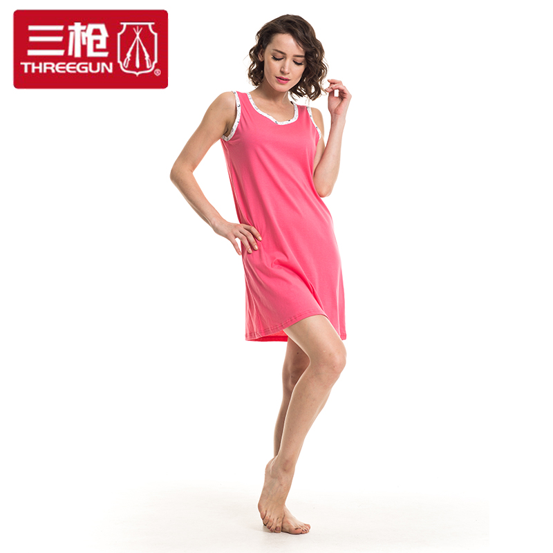 Three shots safeguard cotton sleeveless nightgown pajamas female casual fashion short sleeve female summer nightgown home 70263A0