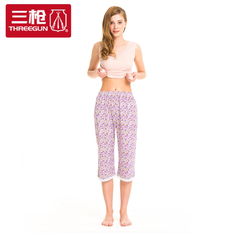 Three shots slacks ms. female summer pajamas female summer cotton pajamas tracksuit long sleep pants pants seventh 60228b
