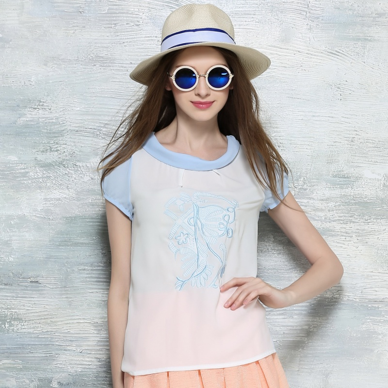 Through the brand women's summer new ladies short sleeve chiffon blouse chiffon shirt by X6259