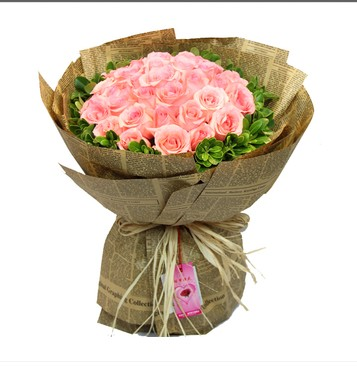 Tianjin coastal city flower shop flowers 33 pink roses flower delivery birthday bouquet city express delivery of flowers