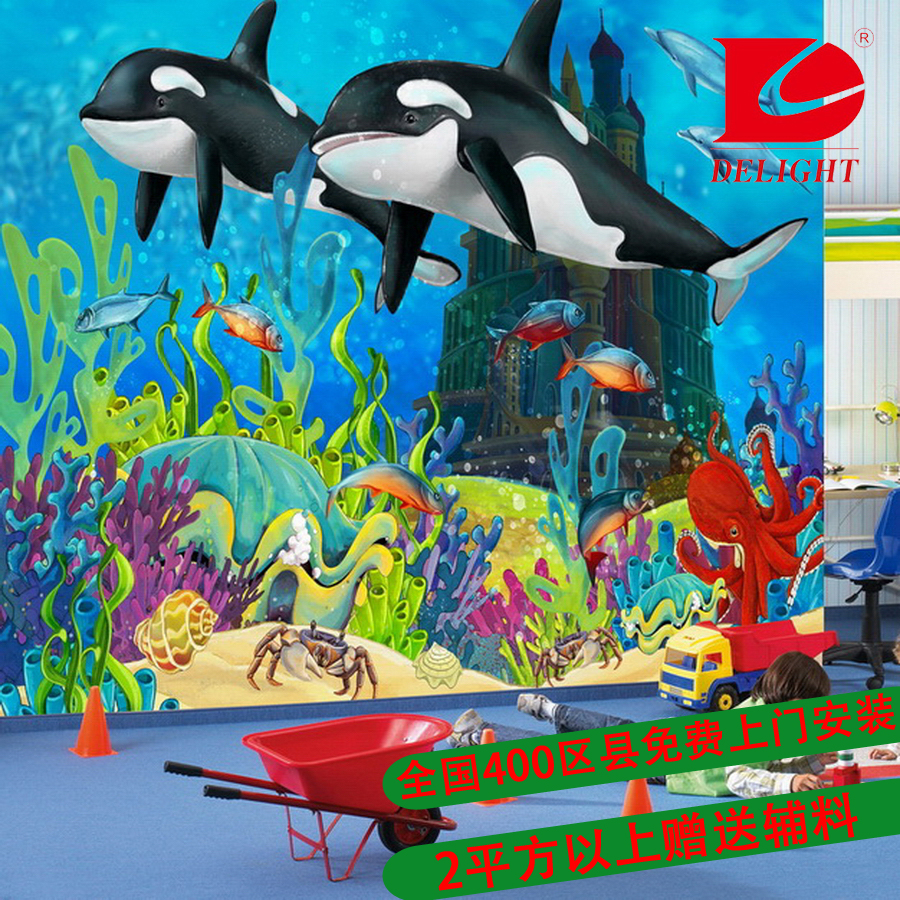 Tianli seamless' wovens wall paintings tv backdrop mural custom dolphin children # AI183