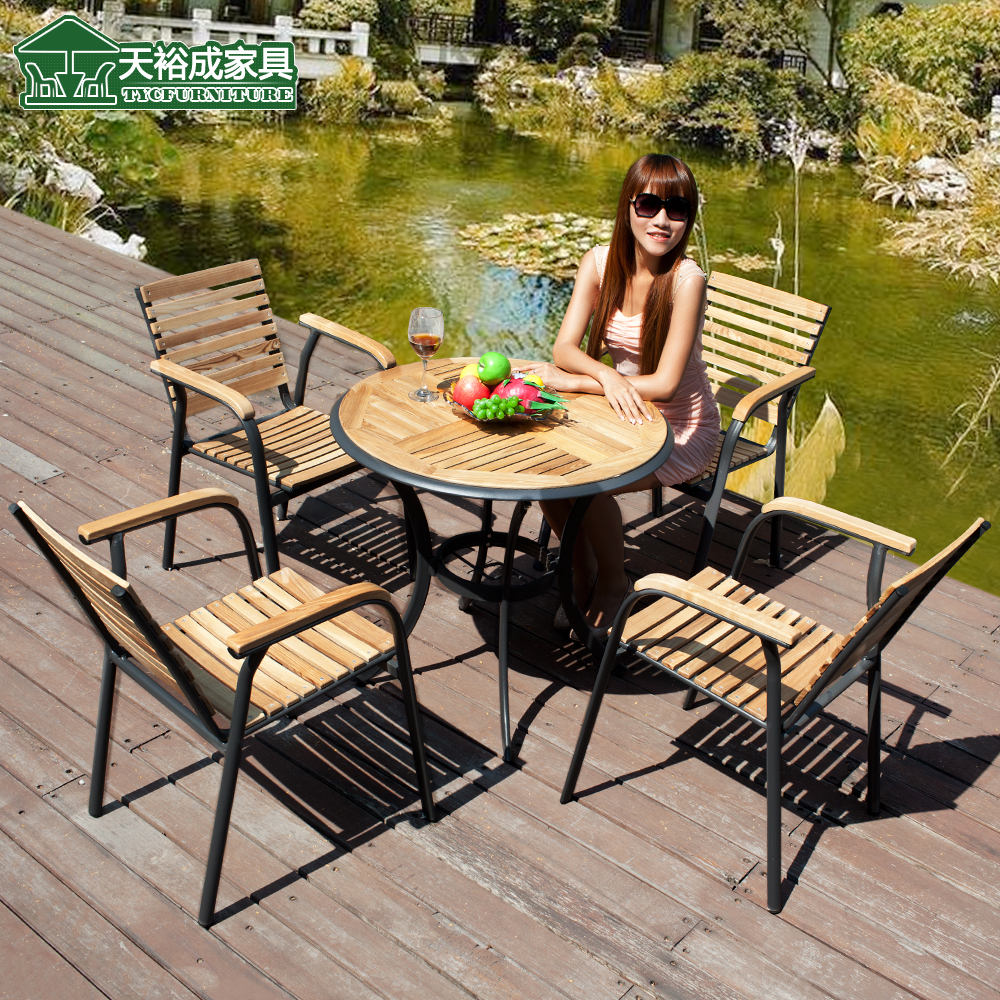 Tianyu into outdoor cafe tables and chairs solid wood tables and chairs carbonized wood tables and chairs outdoor furniture outdoor furniture leisure furniture bar chairs
