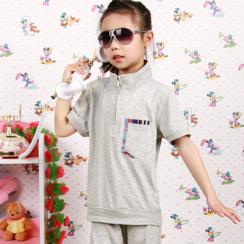 Tide brand new leisure suit 2015 summer new children's clothing female models girls short sleeve length trousers children free shipping