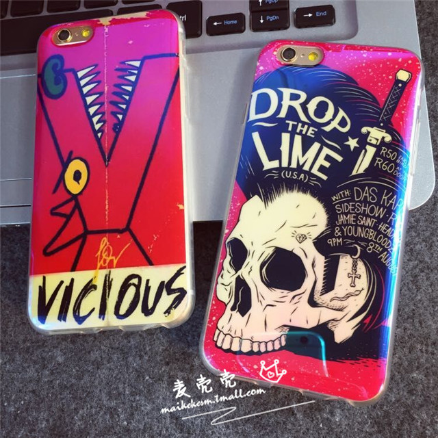 Tide brand of punk style skull phone shell apple iphone6 6 plus 6 + cartoon silicone sleeve protective sleeve
