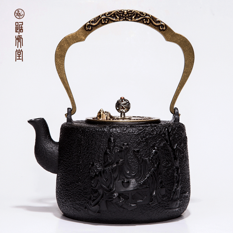 Tiger hall squat iron pot cast iron teapot copper handle taoyuan trio health old iron pot iron teapot boiling teapot free Shipping