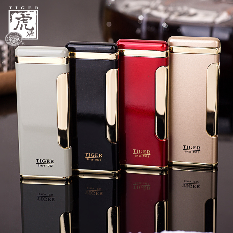 Tiger thin windproof metal refillable lighters creative personality inflatable lighter boutique men lettering