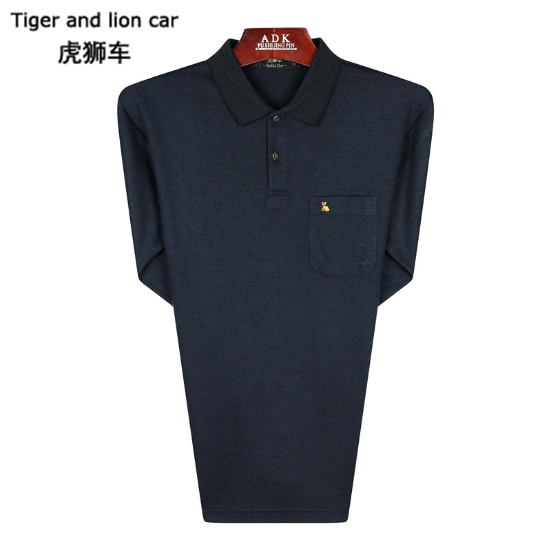 Tigon car in the spring and autumn long sleeve men's shirt autumn male father fitted models everyday casual compassionate lapel loose t-shirt