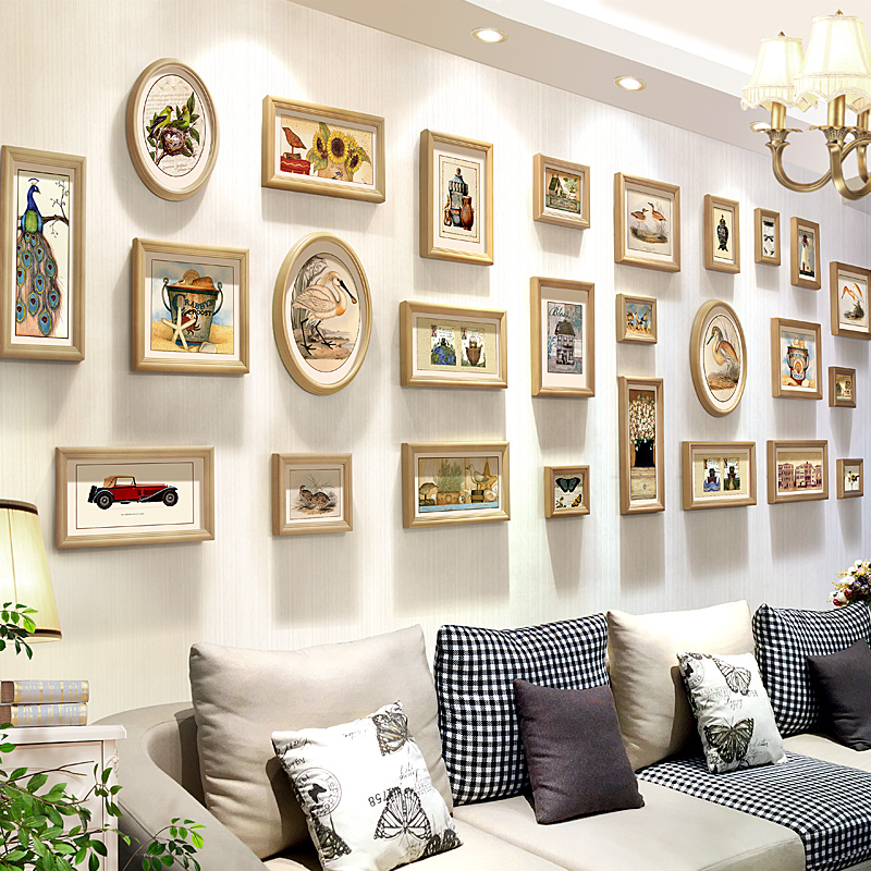 Tim color painting creative american photo wall photo wall photo frame wall combination of large size living room large wall