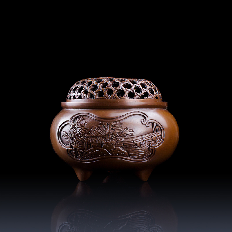 To fight! free shipping * jianjun rattan handmade chisel engraved pattern landscape censer of pure copper copper incense censer incense box