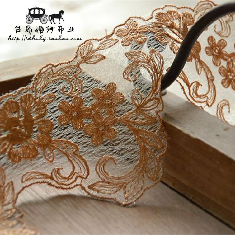 Toi a series of luxury handmade accessories diy delicate openwork embroidery wide 6.5 cm/790 yellow lace flowers edge