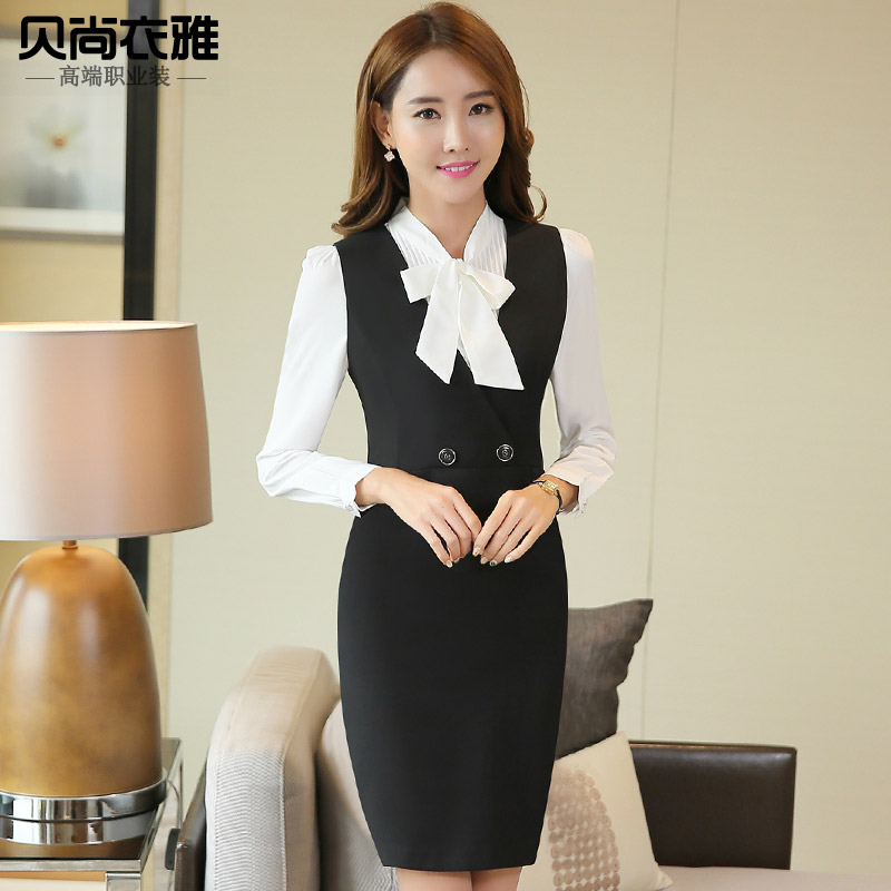 aef216f7b1b Get Quotations · Tony yet elegant clothes 2016 new women s vest dress shirt  skirt suits beautician work wear clothes