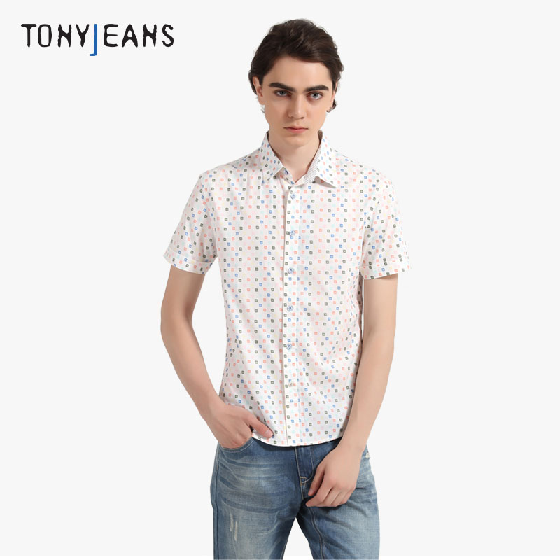 Tonyjeans汤尼俊士summer men's casual shirt color dot printing pure cotton short sleeve shirts