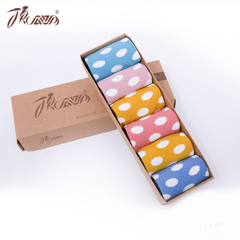 Top guagua tkk ms. candy colored sweet fashion quality breathable cotton socks 6 pairs of dress socks cotton flax