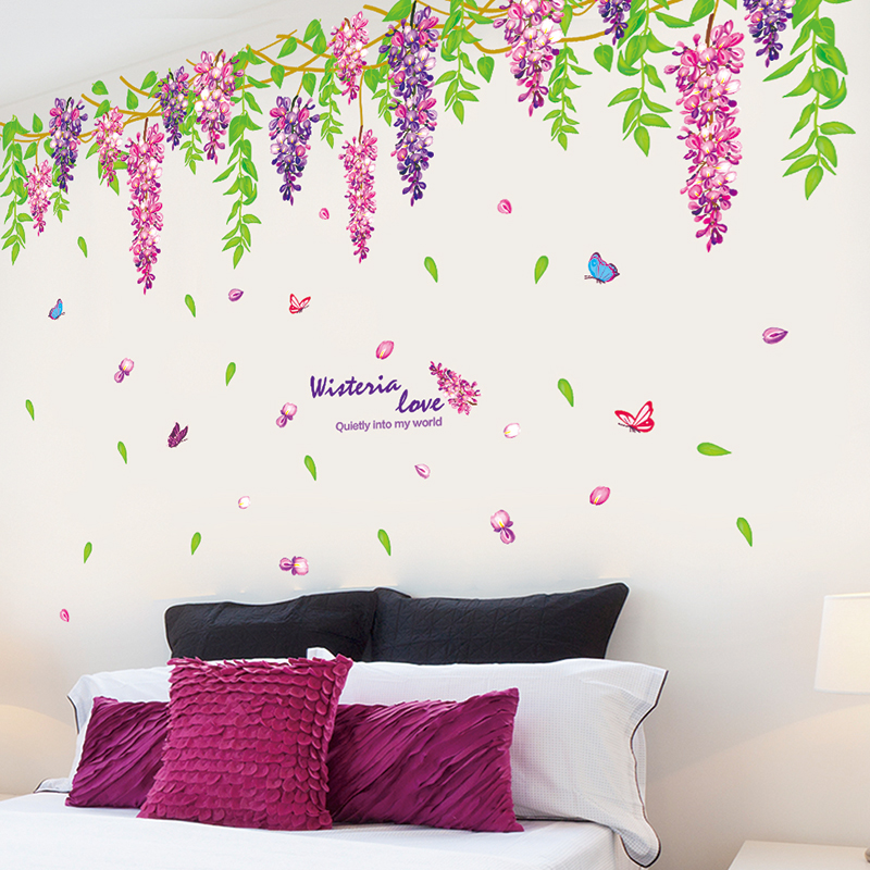 Top of the wall living room bedroom sofa background decorative wall stickers romantic purple wisteria klimts pendant ornaments entrance waistline