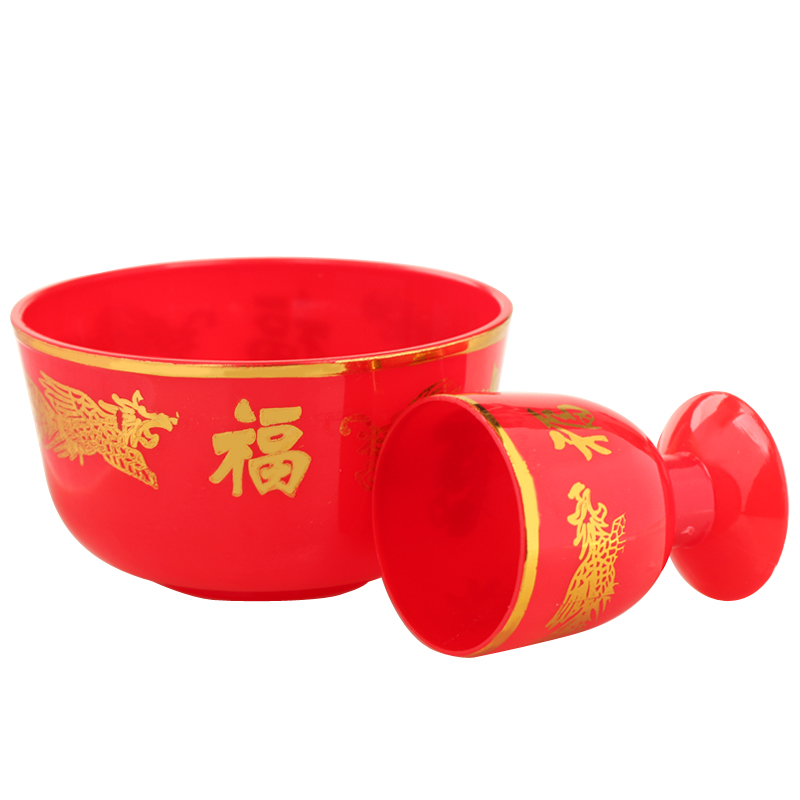 Touch court opening smallbowl glass ornaments plastic dragon word blessing red dragon and phoenix wedding supplies worship furnishings