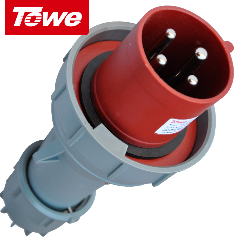 Towe waterproof industrial plug and socket 63a industrial connectors aviation plug 4 core 3 p + e male head