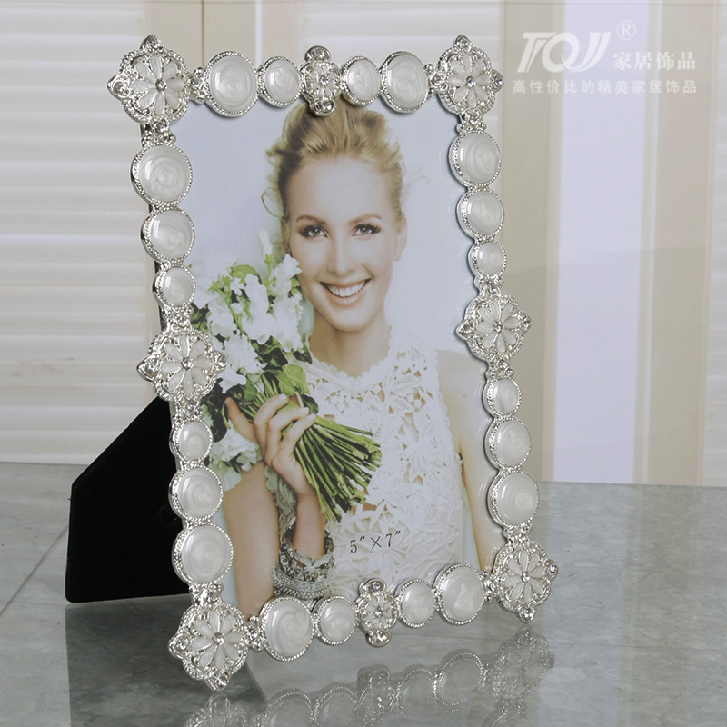 Tqj/6 inch/7 inch/10 inch euclidian alloy frames/inlay diamond/wedding photos of life Photo frame