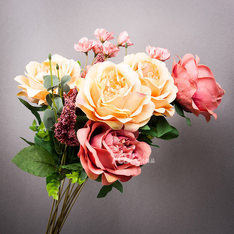 Tqj european furnishings decorative artificial flowers artificial flowers silk flower artificial flowers artificial flowers living room bedroom dining 5 head of french peony