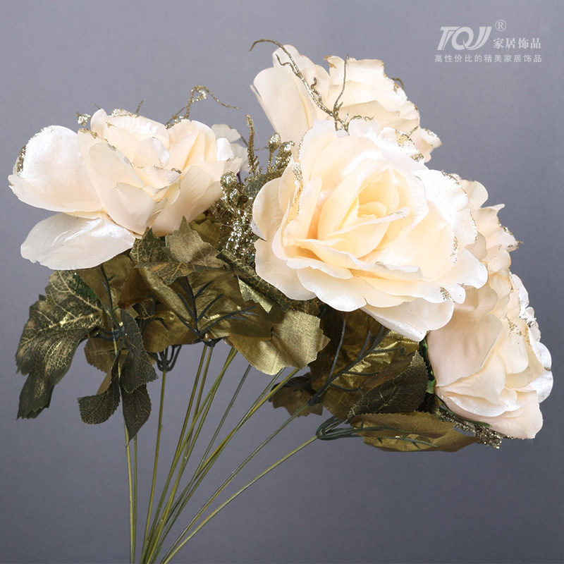 Tqj european furnishings decorative artificial flowers artificial flowers silk flower artificial flowers artificial flowers living room bedroom dining 6 symphony rose head