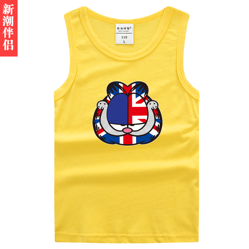 Trendy companion childrenwear new cartoon summer sleeveless vest cotton t-shirt for boys and girls children's cartoon cat clothes