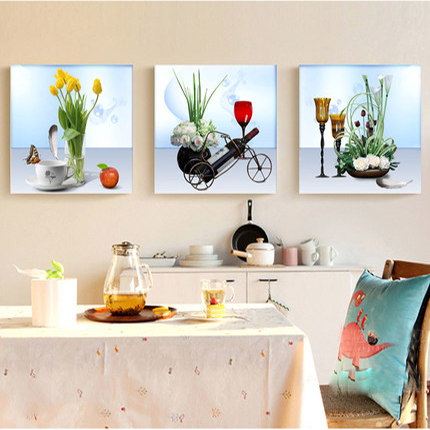 Triple Decorative Painting Modern Minimalist Restaurant Frameless Painting  Mural Paintings Ice Painting Paintings Of Flowers Fruit