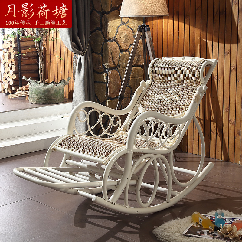 True white wicker chair rattan rocking chair rocking chair siesta chair recliner adult balcony continental xiao away from the chair and shook his chair chairs for the elderly