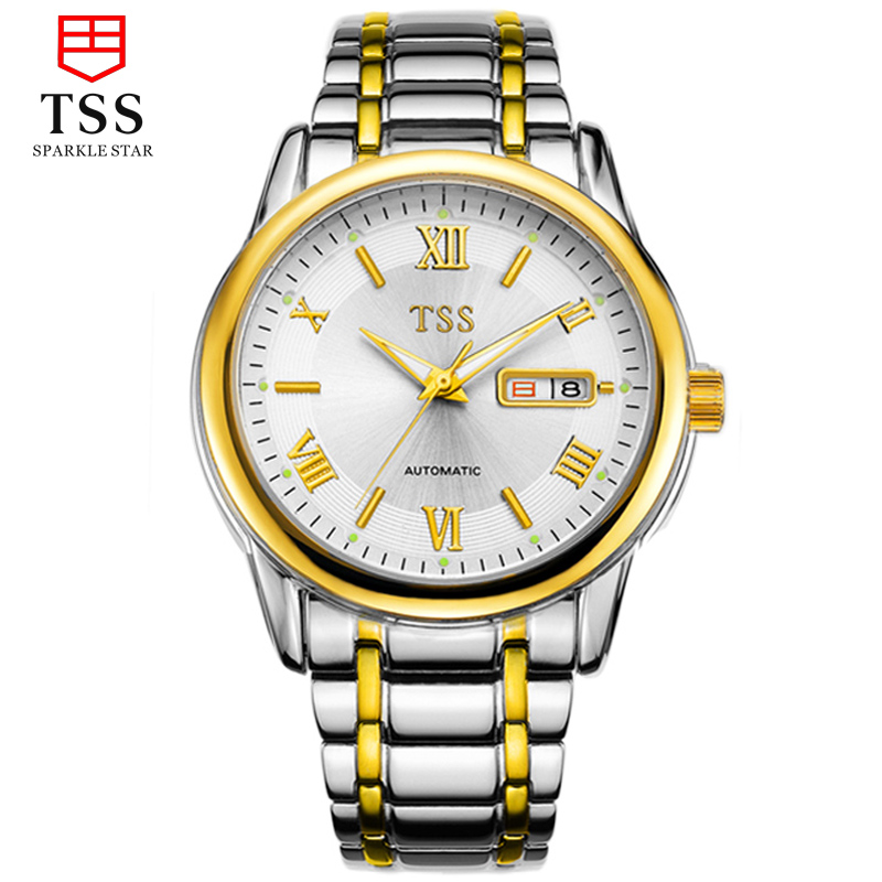 Tss days thinking genuine waterproof mechanical watch men watch hollow men's watches steel waterproof calendar men's stainless steel
