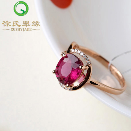 Tsui tsui edge natural crystal jewelry k gold pigeon blood red tourmaline ring ring with a certificate