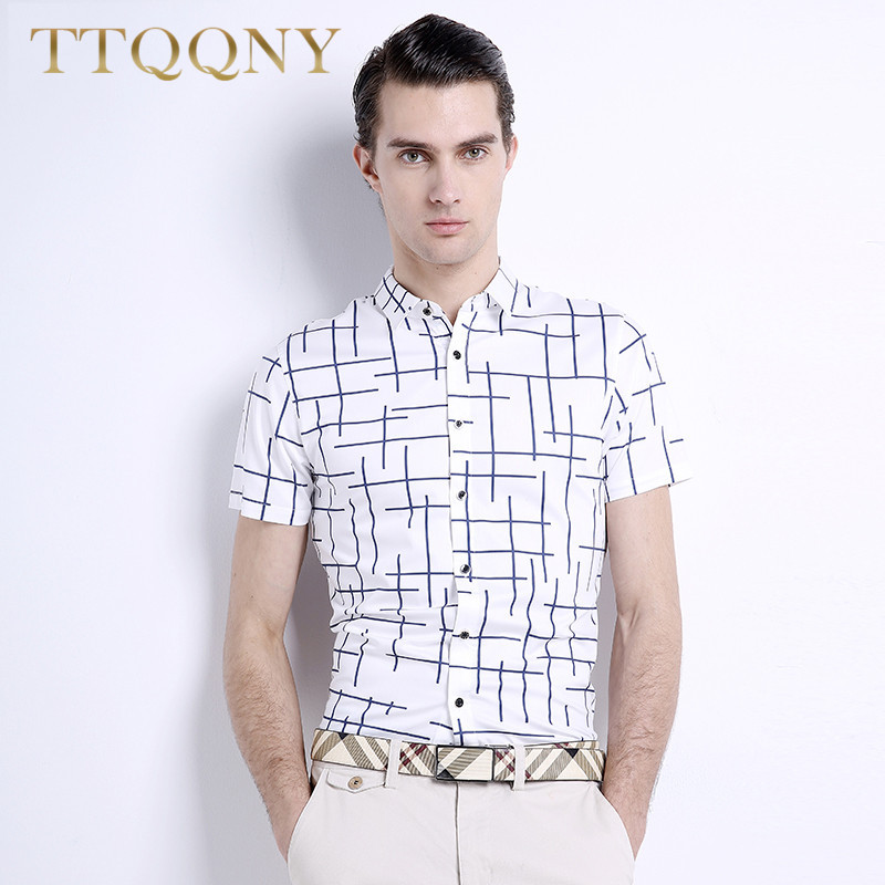 Ttqqny 2016 new summer short sleeve slim pointed collar shirt slim korean version of the trend geometric pattern 4964