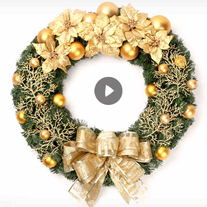 Tupper us christmas holiday decorative items 60cm golden christmas ornaments door wreath upscale hotel dressed