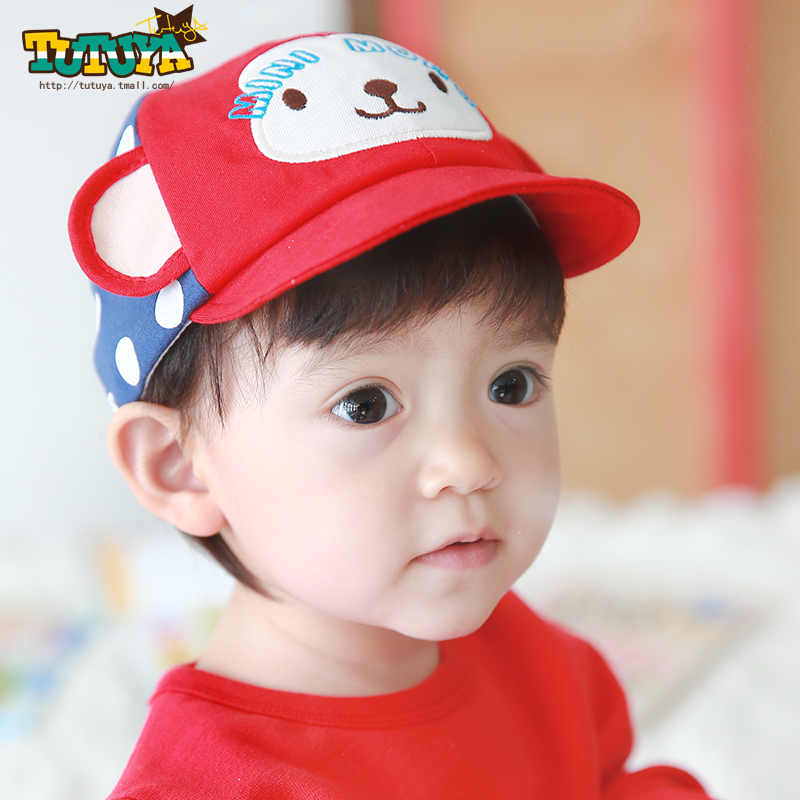 Tutuya korean baby hat spring and autumn days 3-6-12 months baby soft brimmed hat cap cotton hat boys and girls